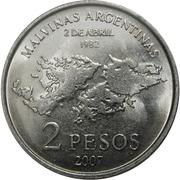 2 pesos (Guerre des Malouines) -  revers