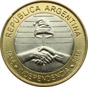 2 pesos (Bicentenaire de la Déclaration d'Indépendance de l'Argentine) -  avers