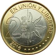 2 pesos (Bicentenaire de la Déclaration d'Indépendance de l'Argentine) -  revers