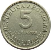 5 centavos San Martín – avers