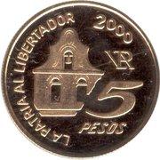 5 Pesos (Death of General San Martin) -  avers