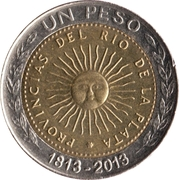1 Peso (Bicentennaire de la première pièce patriotique) -  revers