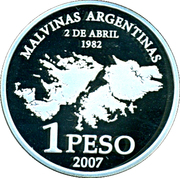 1 Peso 25th Anniversary Malvinas Islands Occupation -  revers