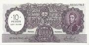 10 Pesos Overprint on 1,000 Pesos – avers