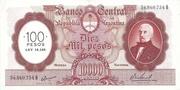 100 Pesos Overprint on 10,000 Pesos – avers