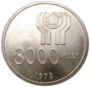 3000 pesos (Coupe du monde de football Argentine 1978) – revers