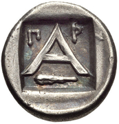 Trihemiobol (Argos) – revers
