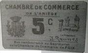 5 centimes - Chambre de commerce de l'Ariège [09] – avers