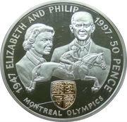 50 Pence - Elizabeth II (Golden Wedding-Montreal Olympics) – revers