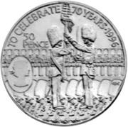 50 Pence (70th Birthday - Queen Elizabeth II) – revers