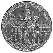 50 pence - Elizabeth II (3ème effigie - 70ème anniversaire d'Elizabeth II) – revers