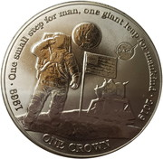 1 Crown - Elizabeth II (First man on the moon) (Titanium) – revers