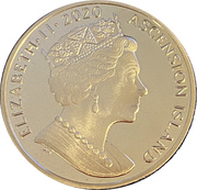 Ascension Island Christmas 1 Crown  150th Anniversary of Charles Dickens' death – avers