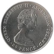 25 pence Elizabeth II (2eme effigie - Mariage royal) - argent 500‰ – avers
