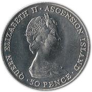 50 pence Elizabeth II (2e effigie, argent) - Visite royale – avers