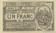 1 franc - Chambre de Commerce d'Auch [32] <filigranes abeilles> – avers