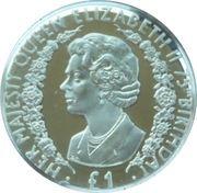 1 Pound - Elizabeth II (75ème anniversaire de la reine) – revers