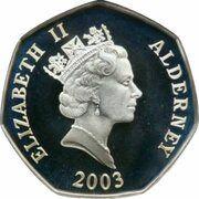 50 Pence - Elizabeth II (50ème anniversaire ducouronnement) – avers