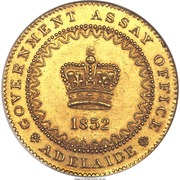 """1 Pound - Victoria """"Adelaide Pound"""" (South Australia Colony; Dentilated inner circle) – avers"""