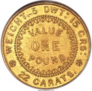 """1 Pound - Victoria """"Adelaide Pound"""" (South Australia Colony; Dentilated inner circle) – revers"""