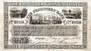 1 Pound - The Producers' Bank, Sydney (New South Wales) -  avers