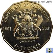 50 Cents - Elizabeth II (Queensland) -  revers