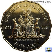 50 Cents - Elizabeth II (Northern Territory) -  revers