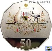 50 Cents - Elizabeth II (Federation - Colourised) -  revers