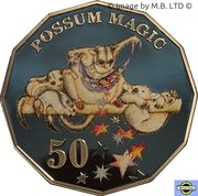 50 Cents - Elizabeth II (6th portrait - Possum Magic; coloured) -  revers