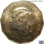 50 Cents - Elizabeth II (Mariage royal) -  revers