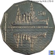 50 Cents - Elizabeth II (bataille de Cocos Islands) -  revers
