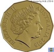 50 Cents - Elizabeth II (Année du chien, plaqué or) – avers