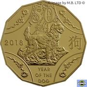 50 Cents - Elizabeth II (Année du chien, plaqué or) – revers