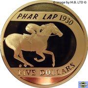 5 Dollar - Elizabeth II (4th portrait; 70th Anniversary of Phar Lap's 1930 Melbourne Cup Win) -  revers