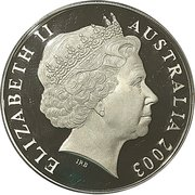 5 Dollars - Queen Elizabeth II Rugby World Cup Selectively Gold Plated Proof Coin -  avers