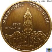 """5 Dollars - Elizabeth II (""""Town Halls"""" Brisbane Town Hall) -  revers"""