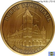5 Dollars - Elizabeth II (4e portrait; «mairies» Perth Town Hall) – revers