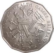 50 Cents - Elizabeth II (Jeux du Commonwealth à Brisbane) -  revers