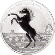 1 Dollar - Elizabeth II 4th portrait; (The Australian Stock Horse) Silver Bullion -  revers