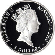 5 dollars Elizabeth II (3rd portrait; A Sea Change I.) -  avers