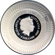 5 Dollars - Elizabeth II (ICC Cricket World Cup 2015) -  avers