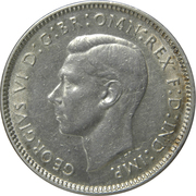 6 pence George VI (argent 925‰) -  avers