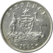 6 pence George VI (argent 925‰) -  revers