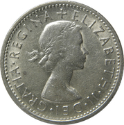 "1 shilling Elizabeth II (1ère effigie, sans ""·F:D:"") -  avers"