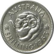 """1 shilling Elizabeth II (1ère effigie, sans """"·F:D:"""") – revers"""