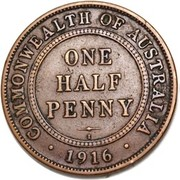 ½ Penny - George V (Indian ¼ Anna Obverse Mule) – revers