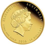 15 dollars - Elizabeth II (Année du singe) – avers