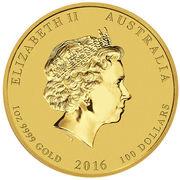 100 dollars - Elizabeth II (Année du singe) – avers