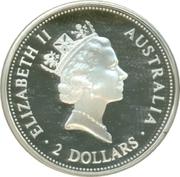 2 Dollars - Elizabeth II 3rd portrait / Two Kookaburras on branch -  avers