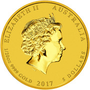 5 dollars Elizabeth II (4th portrait; Year of the Rooster) -  avers